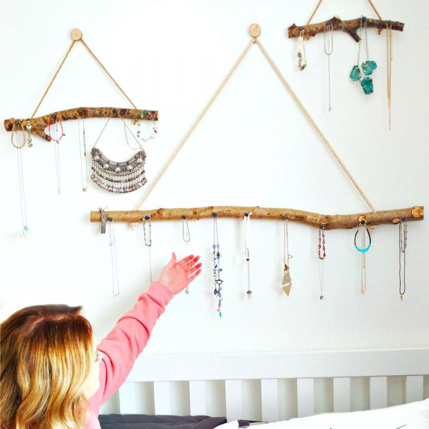 BOHO-STYLE SET of THREE BRANCH HANGERS